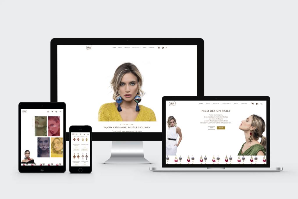 Mockup sito web Nico Design Sicily